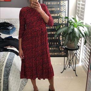 Zara printed red leopard flowy dress